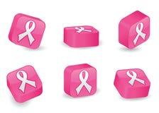 Three-Dimensional Pink Ribbon Blocks. Awareness ribbon icon on vibrantly pink, glossy, three-dimensional blocks in various positions Royalty Free Stock Photography
