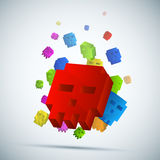 Three-dimensional pixel skull background. Royalty Free Stock Images