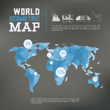 Three dimensional polygonal world map and Stock Photography