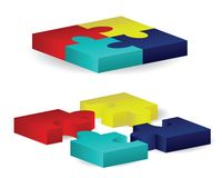 Three-Dimensional Puzzle Blocks Royalty Free Stock Images
