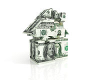 Three-dimensional puzzle house of banknotes Stock Photography