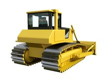 Three-dimensional raster illustration of a bulldozer. Yellow bulldozer. Construction machinery. Royalty Free Stock Photo