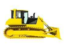 Three-dimensional raster illustration of a bulldozer. Yellow bulldozer. Construction machinery. Stock Image