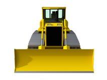 Three-dimensional raster illustration of a bulldozer. Yellow bulldozer. Construction machinery. Royalty Free Stock Images