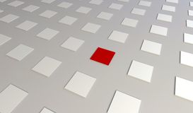 Three dimensional render of a abstract red and white cubes. Background Royalty Free Stock Photo