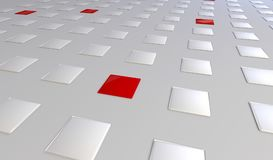 Three dimensional render of a abstract red and white cubes. Background Stock Photography