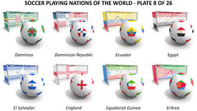 Soccer playing nations of the world Stock Image