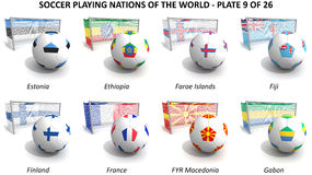 Soccer playing nations of the world Stock Photos