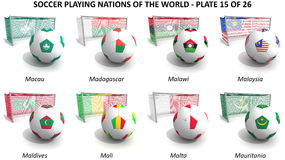 Soccer playing nations of the world Royalty Free Stock Photography
