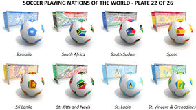 Soccer playing nations of the world Stock Photo