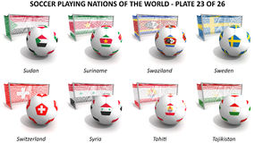 Soccer playing nations of the world Stock Images