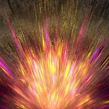 Abstract art composition of vivid explosion on a golden striped surface. Three dimensional rendered illustration of unique model royalty free illustration