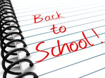 `Back to School` on a note book vector illustration