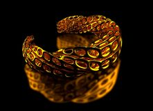 Golden 3d printed bracelet stock illustration