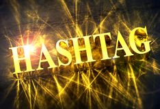 Golden `HASHTAG` word with caustic light royalty free illustration
