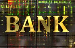 Golden word BANK with electronic background vector illustration