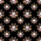 Seamless pattern of diamond flowers on black background stock photos