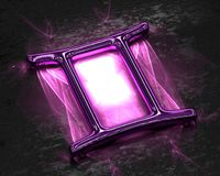 Sign of the zodiac in pink metal with caustics - Gemini. Three dimensional rendered illustration of unique model royalty free stock images
