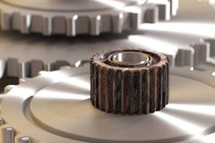 Three-dimensional rusty cogwheel Stock Images