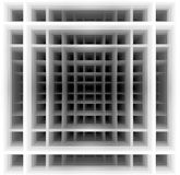 Three dimensional shape - black and white squares. Three dimensional background made of black and white squares which create hypnotic  illusion of deep tunnel Stock Image