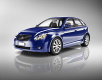Three-Dimensional Shape Blue Sedan Studio Shot Royalty Free Stock Photos