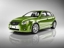 Three-Dimensional Shape Green Sedan Studio Shot Royalty Free Stock Photos