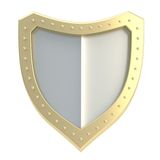 Three-dimensional shield symbol isolated Stock Photo