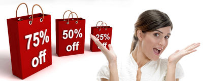 Three dimensional shopping bags. And surprised businesswoman on an isolated white background Royalty Free Stock Photo