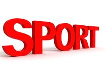Three dimensional side view of sport word Royalty Free Stock Photos