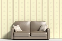 Three-dimensional sofa with pillows against of wall Royalty Free Stock Photo