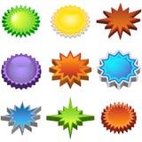 Three Dimensional Starburst Stickers Stock Photos
