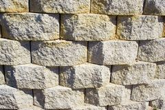 Three dimensional Stone Wall. A three dimensional, rounded square stone wall makes a good wallpaper and/or background Stock Photos