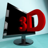 Three Dimensional Television Or 3D HD TV Royalty Free Stock Image