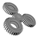 Three-dimensional toothed wheels. Vector rendering of 3d Royalty Free Stock Photos