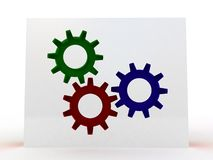 Three-dimensional  toothed wheels Royalty Free Stock Images