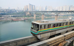 Three-dimensional traffic. The three-dimensional traffic ways-by light rail train,by driving cars and by water transport in Chongqing, China Stock Image