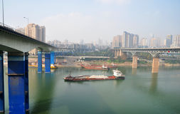 Three-dimensional Traffic System. The three-dimensional traffic ways-by light rail train,by driving cars and by water transport in Chongqing, China Stock Images