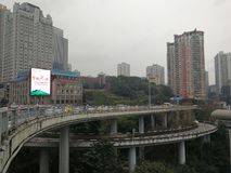 Three-dimensional Traffic System. The three-dimensional traffic ways-by light rail train,by driving cars and by water transport in Chongqing, China Stock Photography