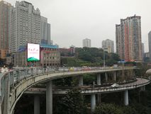 Three-dimensional Traffic System. The three-dimensional traffic ways-by light rail train,by driving cars and by water transport in Chongqing, China Stock Photo