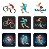 Three dimensional Triathlon icons. Stock Photo