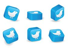 Three-Dimensional Twitter Blocks. Bird icon on vibrant, glossy, three-dimensional blocks in various positions Stock Images