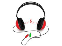 Three Dimensional View Of Headphone With Notes Stock Photos