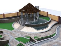 Aerial view of two-tiered patio pond features, 3d rendering vector illustration