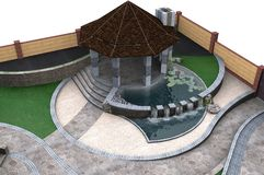 Aerial view of two-tiered patio pond features, 3d rendering. Three-dimensional visualization of private yard landscaping and patio water fountain features Stock Photography