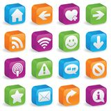 Three-Dimensional Web Symbols. Various web icons and symbols on brightly colored, three-dimensional square buttons Royalty Free Stock Photography