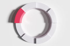 Three-dimensional white diagram with one red piece Royalty Free Stock Photo