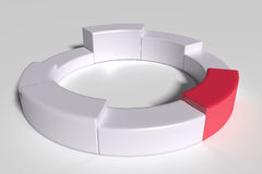 Three-dimensional white diagram with one red piece Royalty Free Stock Images