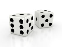 Three-dimensional white dice Royalty Free Stock Image