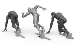 Three dimensional white human run Royalty Free Stock Images