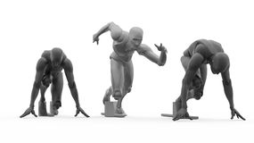 Three dimensional white human run Stock Image